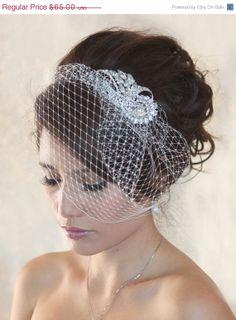 Boxing week sale. Wedding Birdcage Veil  with Crystal rhinestone brooch VI01