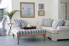 images of beach style interiors | second sitting area in the living room, whose boundary is defined by ...