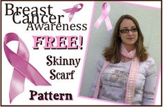 Free Crochet Breast Cancer Awareness Skinny Scarf