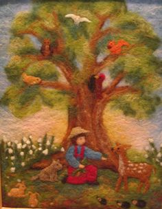 Wool picture: Boy who loved animals -Needle felted pictures by Judit Gilberts