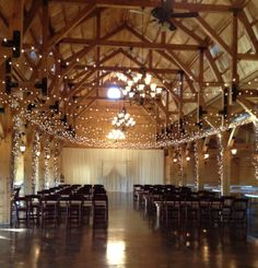 Wedding lighting in the barn