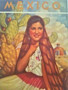 Vintage 1940's Copy of Print Mexico Travel Poster With Matting