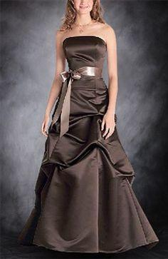 Robe longue marron ruban
