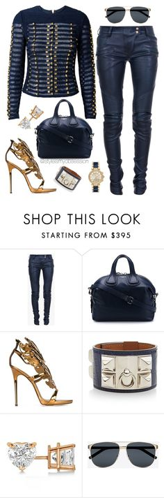 """Untitled #1582"" by dnicoleg ❤ liked on Polyvore featuring Balmain, Givenchy, Giuseppe Zanotti, Hermès, Allurez, Yves Saint Laurent and Michael Kors"