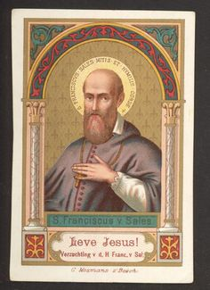 Nice Saint Francis v Sales antique french  holy card goldprint