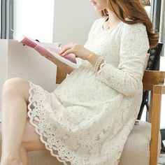 623903db824 Aliexpress.com   Buy Maternity Clothing Fashion New Full Sleeve Lace Dress  for Pregnant Women Cute White Color Dresses Pregnancy Plus Size Clothes  from ...