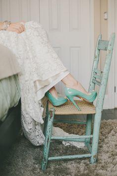 Mint wedding heels