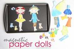 diy magnetic paper dolls for the princesses... could easily do cars or a pirate ship for the boy.