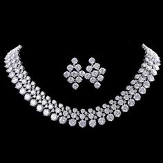 SALE: Triple Cubic Zirconia Stone Jewellery Jewelry Set - Wedding/ Prom Set -Triple Diamond Style - Necklace and Earring Set Indian Jewellery Design, Indian Jewelry, Jewelry Design, Stone Necklace, Stone Jewelry, Wedding Accessories, Wedding Jewelry, Prom Necklaces, Fashion Necklace