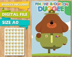 Hey Duggee Party Game Pin the Birthday Acorn Badge Duggie, Tokens, Printable Pin the Tail, Party Supplies Birthday Party Planner, Birthday Balloons, First Birthday Parties, Birthday Party Invitations, 3rd Birthday, First Birthdays, Gaming Banner, Party Games, Party Supplies