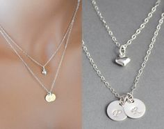 Double Layered Initial Necklace, Two Initial Disc Necklace, Sterling Silver Initial Disc Necklace, Personalized Necklace by malizbijoux. Explore more products on http://malizbijoux.etsy.com