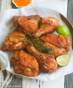 Highly spiced, decadently tender, Bad to the bone and Finger lickin' good! Comfort food at it's BEST. Jamaican Fried Chicken Recipe, Spicy Fried Chicken, Fried Chicken Recipes, Meat Recipes, Indian Food Recipes, Cooking Recipes, Healthy Recipes, Ethnic Recipes, Game Recipes