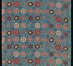 Length of Sarasa with Small Rosettes, 17th-18th century, India for Japanese market, resist and mordant-dyed plain weave cotton