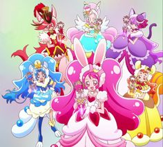 Chocolat/Akira, Parfait/Ciel/Kirarin, Macaron/Yukari, Gelato/Aoi, Whip/Ichika, and Custard/Himari