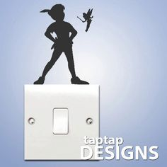 Peter Pan Shadow Light Switch Wall Decal Sticker SKU0129 on Wanelo