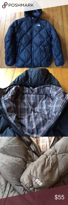 North Face Kid's L 14-16 Reversible Down Jacket 550 reversible down jacket. Black on one side and brown and pink plaid on the other. There is a small repair on the plaid side near the zipper. See picture #4. A bit of piling on cuffs. Overall in great shape. Very warm. The North Face Jackets & Coats Puffers
