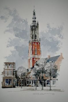 De Onze Lieve Vrouwetoren, gezien vanaf de Varkensmarkt. door Cor van den Braber
