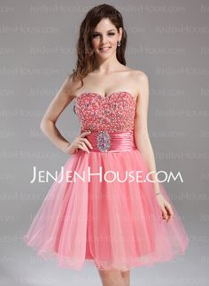 US  119.99  A-Line Princess Sweetheart Knee-Length Tulle Homecoming Dress  With Ruffle Beading Sequins - JenJenHouse 78c5d1bb5