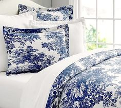 Matine Toile Duvet Cover & Sham #potterybarn; I like the French Blue color