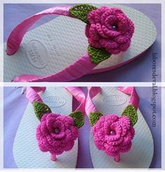 Crochet Sandals, Crochet Shoes, Crochet Slippers, Crochet Clothes, Crochet Puff Flower, Crochet Flower Patterns, Crochet Flowers, Crochet Crafts, Crochet Yarn
