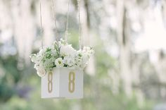 Rustic and Modern White Wedding Inspiration - hanging floral table numbers Wedding Table Seating, Wedding Table Numbers, Wedding Beauty, Wedding Day, Wedding Stuff, Wedding Menu, Wedding Things, Wedding Reception, Dream Wedding
