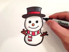 How to Draw a Cute Snowman. See How to Draw a Cute Snowman What youll need: Pencil Eraser Black Marker (I used a Sharpie) Fine Tip Black Marker (To clean up the edgeslines) Red Marker Dark Red Marker for the shading of the red areas Tortillon (used to Easy Christmas Drawings, Christmas Doodles, Christmas Art, Simple Christmas, Xmas Drawing, Illustration Noel, Pencil Eraser, Cute Snowman, How To Draw Snowman