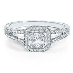 18 karat white gold Helzberg Diamond Masterpiece® Mondrian Diamond® engagement ring with a square cut Helzberg Diamond Masterpiece® center diamond and round brilliant cut diamonds weighing approximately 3/4 carat TW $4999