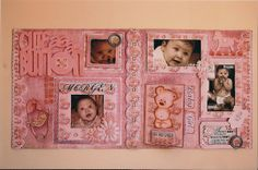 """Cute as a Button""double page scrapbook layout by Jamie Penson using Fab Scraps ""Vintage Baby""paper collection.  jamieshappyscrapping@blogspot.com"