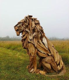animal sculptures the sheer character and natural warmth behind every component of this driftwood lion is evident throughout. claim yours. Art Sculpture En Bois, Driftwood Sculpture, Driftwood Art, Lion Sculpture, Abstract Sculpture, Bronze Sculpture, Driftwood Ideas, Sculpture Ideas, Modern Sculpture
