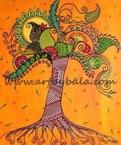 "Tree of Life, 2014. 20"" x 24"" Textured henna style acrylic painting on canvas. © Bala Thiagarajan, 2014. www.artbybala.com"