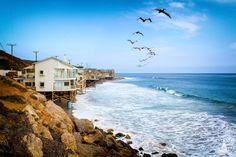 Strandhäuser am Pacific Coast Highway