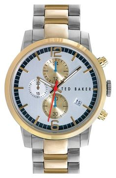 Ted Baker London 'Classic Vintage' Chronograph Two-Tone Bracelet Watch, 42mm