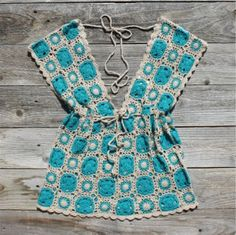 crochet mini-granny apron top