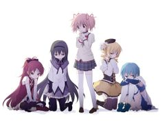 Madoka Magica. From left: Kyoko, Homura, Madoka, Mami, and Sayaka.