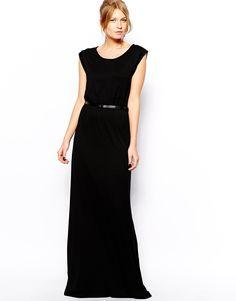 Image 1 ofMango Black Jersey Belted Maxi Dress