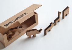 Cardboard recycling idea - mini jungle animals and box holder