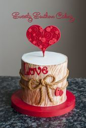 Anniversary or Valentine& cake - If we look at the news as we enter the New Year, we see that celebration methods are generally the same, a night. Beautiful Cakes, Amazing Cakes, Fondant Cakes, Cupcake Cakes, Anniversary Cake Designs, Birthday Cake For Husband, Husband Cake, Cake Birthday, Kolaci I Torte