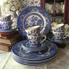 A personal favorite from my Etsy shop https://www.etsy.com/listing/551648800/english-ironstone-blue-willow-service