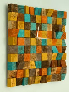 Wood wall art Clock, office wall clock reclaimed wood art clock, geometric, mosaic