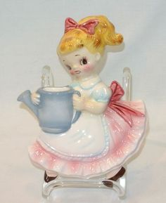 Lefton China Girl with Watering Can Wall Pocket Plaque Vase