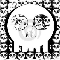 Image representing a stylized angry skull . an idea for decorating t shirts oro other projects