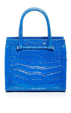 Blue Crocodile Capri Tote  by VBH Now Available on Moda Operandi