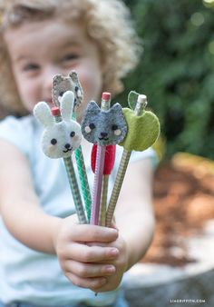 Kid's Felt Pencil Toppers - Lia Griffith: