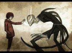 "slenderman: ""i'll break you just like your heart breaks(?) because of your exgirlfriend!"" that boy: ""stop, wait a minute.) bye"" and slenderman be like: wtf. Arte Horror, Horror Art, Horror Movies, Creepy Art, Scary, Art Sketches, Art Drawings, Creepypasta Slenderman, Creepy Pasta Family"