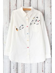 Turn Down Collar Long Sleeve Guitar Embroidered White Shirt Kurti Embroidery Design, Shirt Embroidery, Embroidery Fashion, Hand Embroidery Designs, Kurti Designs Party Wear, Kurta Designs, Cute Blouses, Blouses For Women, Embroidered Clothes