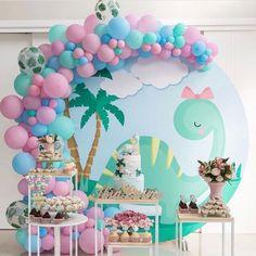 Girl Dinosaur Birthday, 3rd Birthday Cakes, Dinosaur Party, Baby Birthday, Girl Birthday Decorations, Birthday Party Themes, Die Dinos Baby, Baby Party, Inspiration