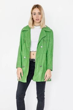 Vintage 90s Lime Green Leather Trench Coat