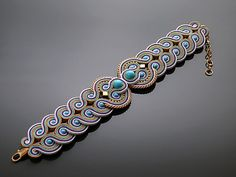 Turquoise Purple Beige Soutache bracelet with от ANBijou на Etsy