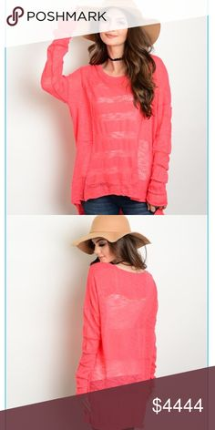 💥Coming soon 💥 Spring/summer Coral sweater Arriving soon for the spring line! Beautiful lightweight coral sweater. Measurements will be provided when items arrive and are ready for purchase.      🌟Like this listing to be notified of arrival Sweaters Crew & Scoop Necks