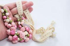 Pastel Pink Flower Necklace Wedding Necklace Jewelry by eteniren, $57.60